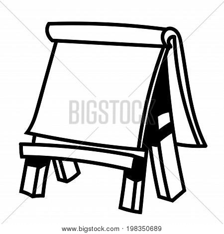 Hand drawn sketch of Paper board on wooden easel Black and White simple line Vector Illustration for Coloring Book - Line Drawn Vector