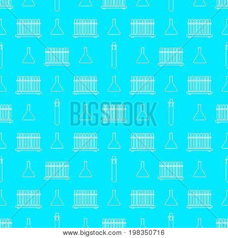 Chemistry seamless pattern with white line beakers. Vector illustration