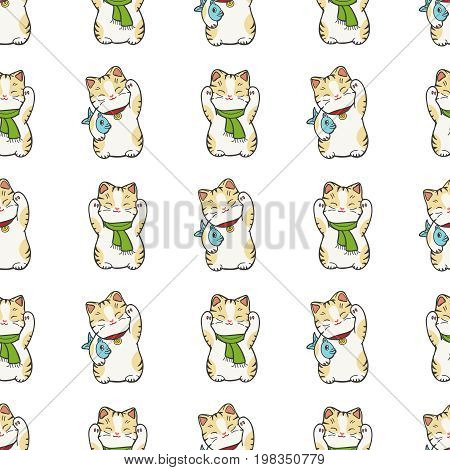 Cute kitten seamless pattern design with white background. Vector illustration