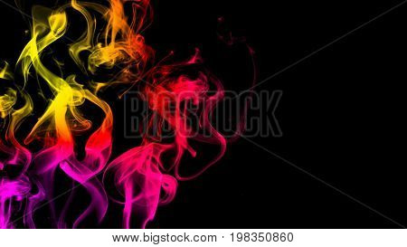 CG animation of colorful smoke on a black background. Juicy and fresh color. 3D rendering