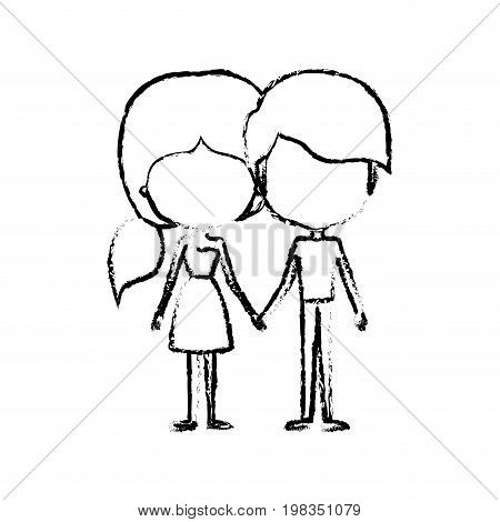 blurred silhouette of caricature faceless thin couple in clothes of young man and woman with side ponytail hairstyle holding hands vector illustration