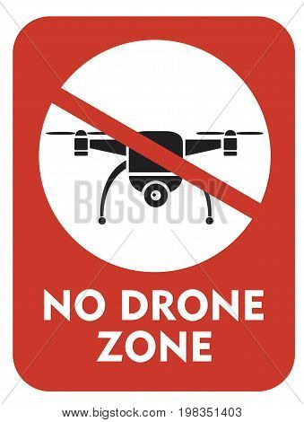 sign prohibiting flying drones vector illustration quadcopter