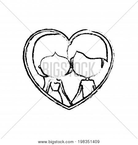 blurred silhouette heart shape with caricature faceless couple guy and woman side ponytail hairstyle inside holding hands vector illustration