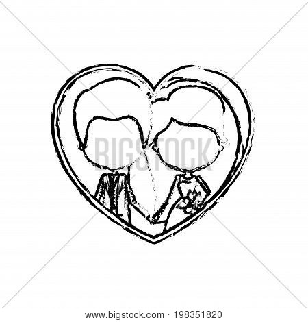 blurred silhouette heart shape with caricature faceless newly married couple inside of newly married couple groom with formal wear and bride with long hairstyle and holdings hands vector illustration
