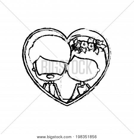 blurred silhouette heart shape with caricature faceless newly married couple inside of newly married couple bearded groom with formal wear and bride with straight medium hairstyle and holdings hands vector illustration