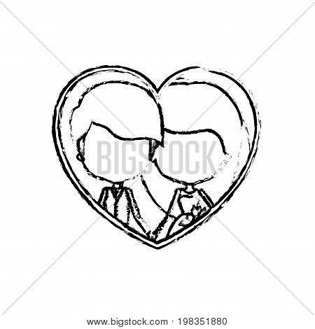blurred silhouette heart shape with caricature faceless newly married couple inside of newly married couple young groom with formal wear and bride with long hairstyle and holdings hands vector illustration