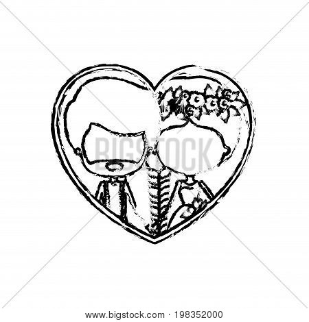 blurred silhouette heart shape with caricature faceless newly married couple inside of newly married couple bearded groom with formal wear and bride with side braided hairstyle and holdings hands vector illustration