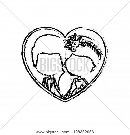 blurred silhouette heart shape with caricature faceless newly married couple inside of newly married couple groom with formal wear and bride with side ponytail hairstyle and holdings hands vector illustration