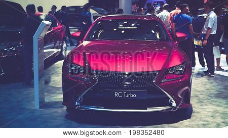 HO CHI MINH / VIETNAM, 04 AUG 2017 - Beauty Model and Lexus RC Turbo car on display at Vietnam motor Show 2017