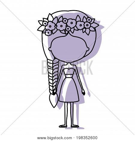 silhouette lilac color shadow of contour caricature faceless skinny woman in clothes with side braid hairstyle and flower crown accesory vector illustration