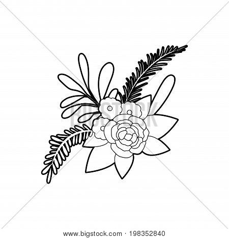 sketch silhouette of floral ornament with several flowers and branches vector illustration