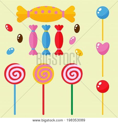 Sweets and candies sugar dessert caramel lollipop food icons set striped stick spiral holiday bonbon vector illustration. Swirl confectionery tasty confection.