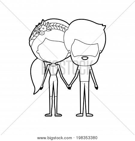 sketch silhouette of caricature faceless thin couple in clothes of bearded man and woman with side ponytail braided hairstyle holding hands vector illustration