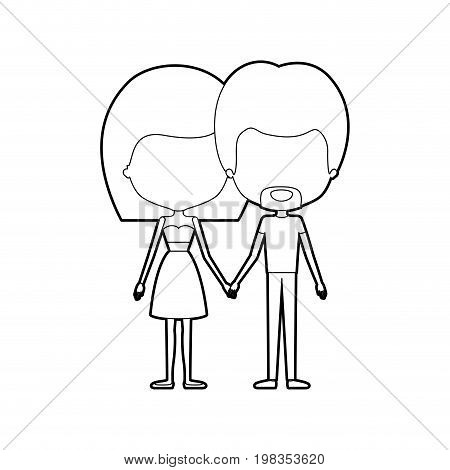 sketch silhouette of caricature faceless thin couple in clothes of bearded man and woman in skirt and top with straight medium hairstyle holding hands vector illustration