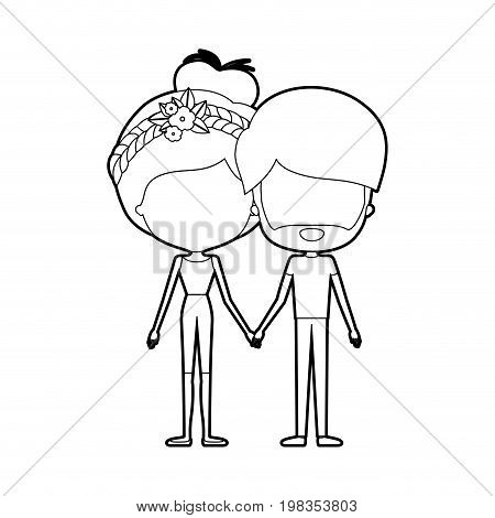 sketch silhouette of caricature faceless thin couple of bearded man and woman bun collected hairstyle with flower crown and holding hands vector illustration