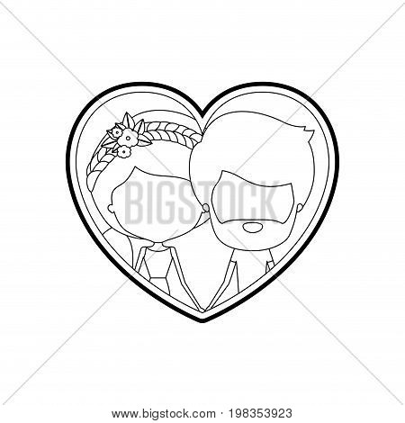 sketch silhouette heart shape with caricature faceless couple bearded man and woman side ponytail and braided hairstyle inside holding hands vector illustration
