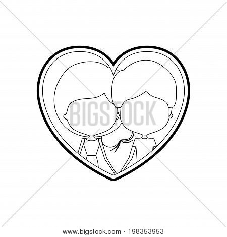 sketch silhouette heart shape with caricature faceless couple man and woman side ponytail hairstyle inside holding hands vector illustration