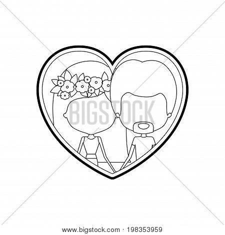 sketch silhouette heart shape with caricature faceless couple man and woman with long and flower crown in hair inside holding hands vector illustration
