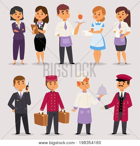 Hotel professions people workers happy receptionist standing at hotel counter and cute characters in uniform reservation entry service vector illustration. Cheerful booking accommodation flat style.