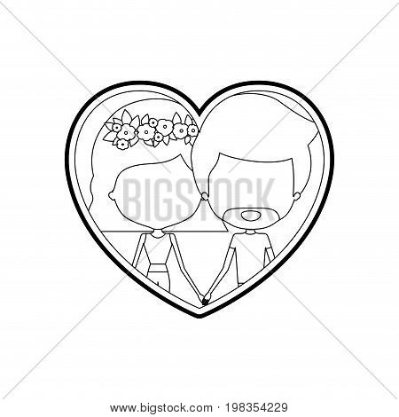 sketch silhouette heart shape with caricature faceless couple man and woman with wavy short hairstyle and flower crown inside holding hands vector illustration