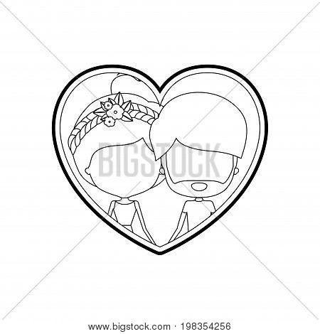 sketch silhouette heart shape with caricature faceless couple man and woman with bun collected and braid flower crown in hair inside holding hands vector illustration