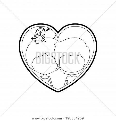 sketch silhouette heart shape with caricature faceless couple man and woman with bun collected and flower crown in hair inside holding hands vector illustration