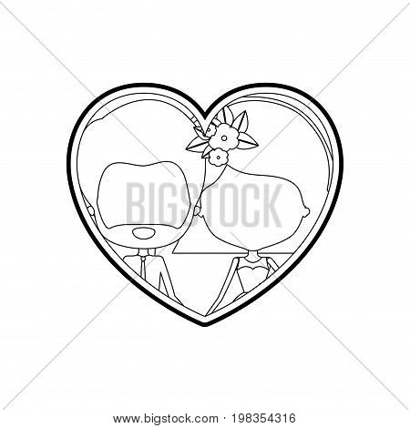 sketch silhouette heart shape with caricature faceless couple bearded man and woman with short hairstyle and flower crown inside holding hands vector illustration