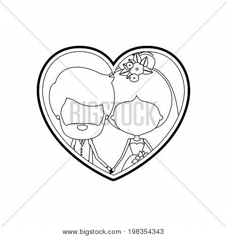sketch silhouette heart shape with caricature faceless newly married couple inside of bearded groom with formal wear and bride with collected hairstyle and holdings hands vector illustration