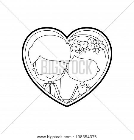 sketch silhouette heart shape with caricature faceless newly married couple bearded groom with formal wear and bride with straight medium hairstyle and holdings hands vector illustration