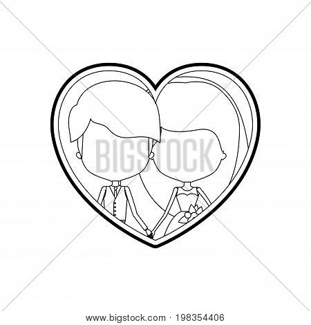 sketch silhouette heart shape with caricature faceless newly married couple young groom with formal wear and bride with long hairstyle and holdings hands vector illustration