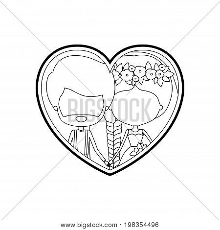 sketch silhouette heart shape with caricature faceless newly married couple bearded groom with formal wear and bride with side braided hairstyle and holdings hands vector illustration