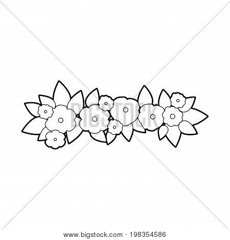 sketch silhouette decorative crown with beautiful flowers ornaments vector illustration