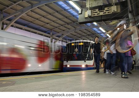 Bangkok Thailand-May 202015: Sky Train Station. The Bangkok Mass Transit System commonly known as the BTS or the Skytrain Baering is terminal station