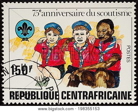 Moscow Russia - August 04 2017: A stamp printed in Central African Republic shows three Boy Scouts series
