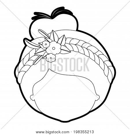 sketch silhouette of caricature faceless woman with collected hairstyle and braid crown decorate with flowers vector illustration
