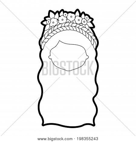 sketch silhouette of caricature faceless woman with wavy long hairstyle and braid crown decorate with flowers vector illustration