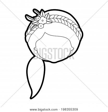 sketch silhouette of caricature faceless woman with side ponytail hairstyle and braid crown decorate with flowers vector illustration