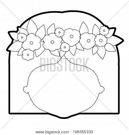sketch silhouette of caricature faceless woman with straigh short hairstyle and crown decorate with flowers vector illustration