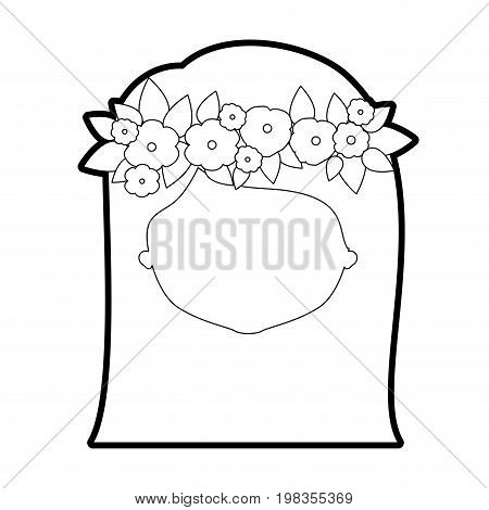 sketch silhouette of caricature faceless woman with straigh medium hairstyle and crown decorate with flowers vector illustration