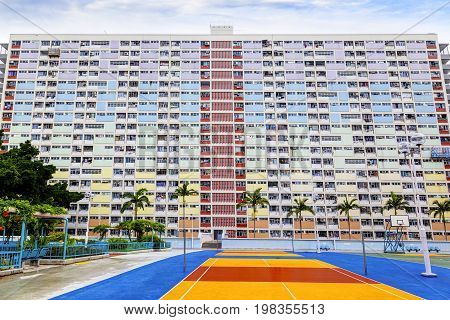 Choi Hung is one of the oldest public housing estates in Hong Kong. Located in the Wong Tai Sin District of Kowloon, the old apartments were built in the early 1960s. Hong Kong is one of the world's most densely populated countries