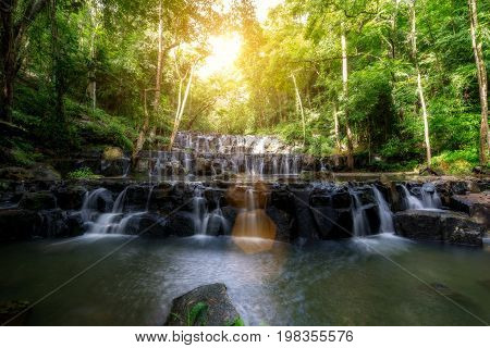 Sam Lan Waterfall is beautiful waterfall in tropical forest Saraburi province Thailand.