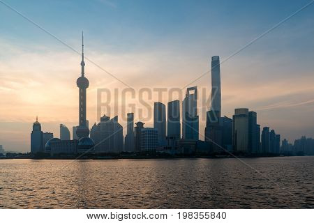 Shanghai skyline cityscape View of shanghai at Lujiazui finance and business district trade zone skyscraper in morning Shanghai China