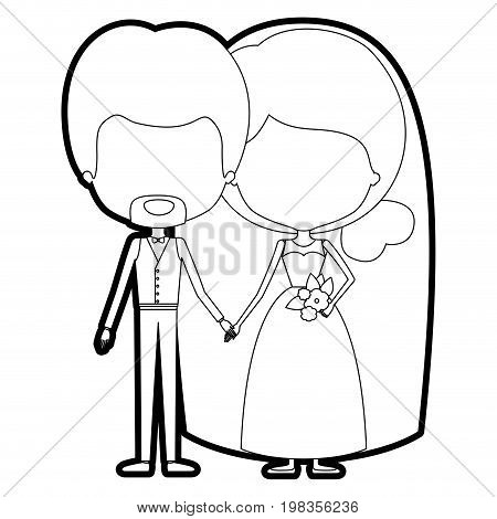 sketch silhouette of caricature faceless newly married couple in wedding suits vector illustration