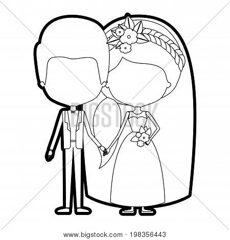 sketch silhouette of caricature faceless newly married couple groom with formal wear and bride with ponytail side long hairstyle vector illustration