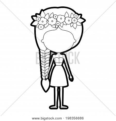 sketch silhouette of caricature skinny faceless woman in clothes with side braid hairstyle and flower crown accesory vector illustration