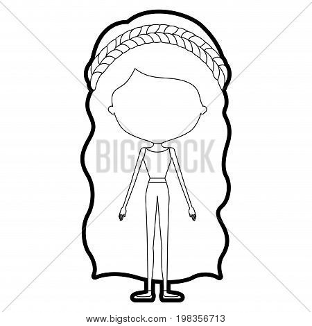 sketch silhouette of caricature skinny faceless woman in clothes with wavy long hairstyle and flower crown accesory vector illustration