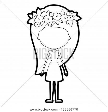 sketch silhouette of caricature skinny faceless woman in dress with long hairstyle and flower crown accesory vector illustration