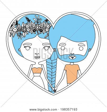 color section silhouette of heart shape with caricature couple bearded man and woman with braid and flower crown in hair inside holding hands vector illustration