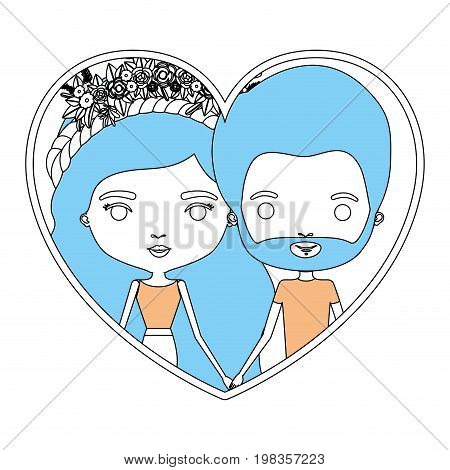 color section silhouette of heart shape with caricature couple bearded man and woman with long wavy braided hairstyle and flower crown in hair inside holding hands vector illustration