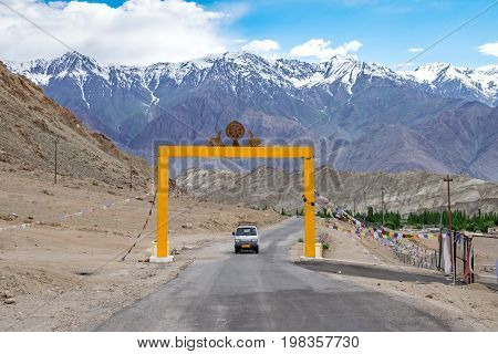 Landscape around Likir Monastery in Ladakh, India